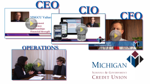 Screen captures from four videos appearing on the Michigan Schools & Government Crdedit Union employee web portal.
